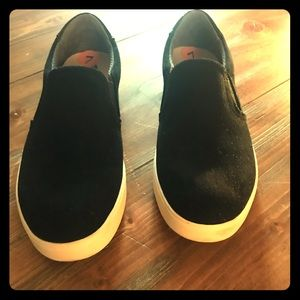 Dr. Scholl's black suede perforated slip ons